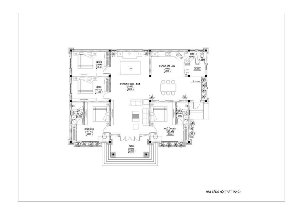 Biệt thự 1 tầng mái thái 4 phòng ngủ