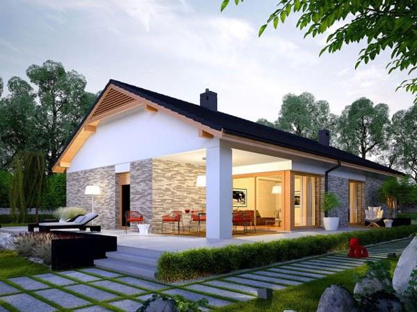 Mẫu thiết kế biệt thự sân vườn mái thái 1 tầng