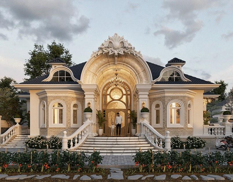 biệt thự cổ điển với mặt tiền ấn tượng