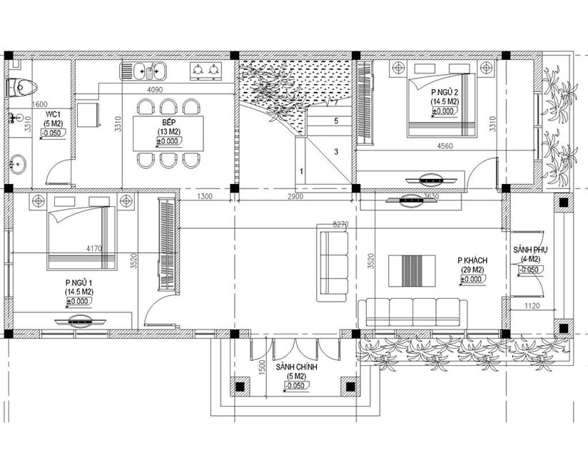 mẫu biệt thự 2 tầng mái thái