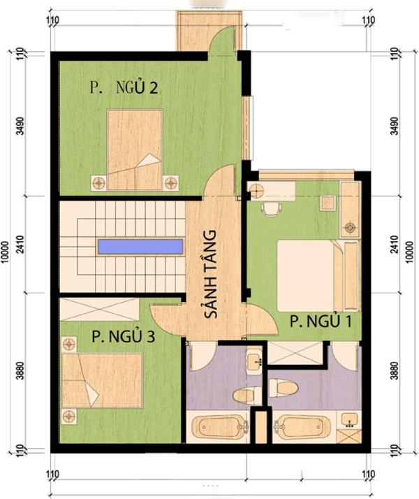 Mẫu nhà 2 tầng chữ l 100m2 hiện đại và khoa học