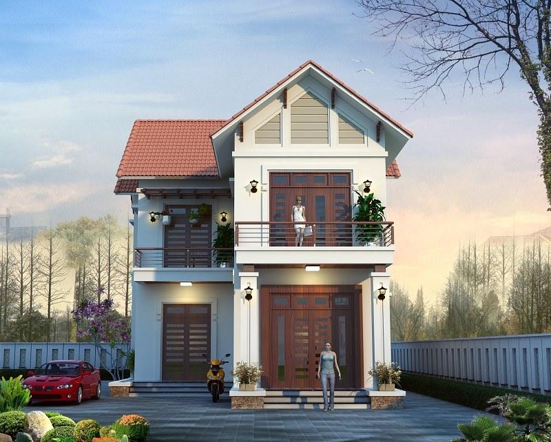 Mẫu nhà 2 tầng mái thái mặt tiền 8m hiện đại