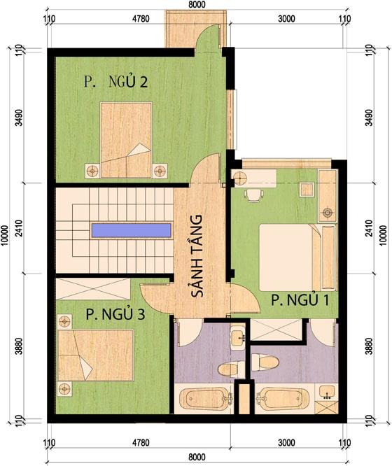 Mẫu nhà 2 tầng mặt tiền 8m