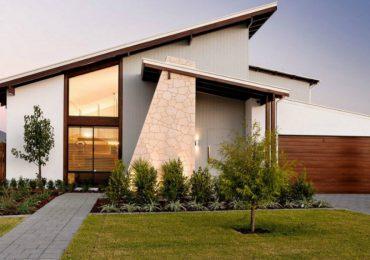 nhà mái lệch có hình khối đơn giản