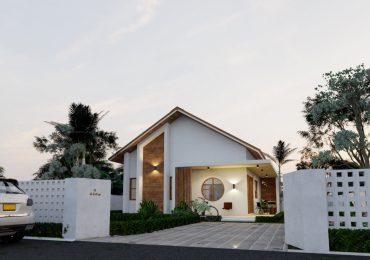 Mặt tiền ngôi nhà 1 tầng 8x10m này được thiết kế đơn giản nhưng hiện đại