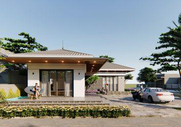 nhà vườn cấp 4 chữ L đẹp với phong cách kiến trúc hiện đại