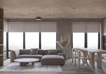 phòng khách và bếp ăn được thiết kế liên thông