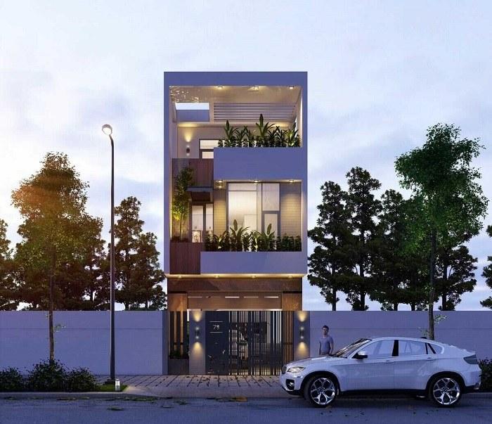thiết kế nhà 3 tầng 5x16m