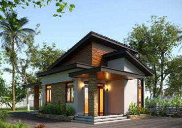 thiết kế nhà cấp 4 6x13m với cửa kính hiện đại