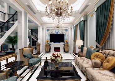 thiết kế phòng khách 50m2 bề thế, lộng lẫy