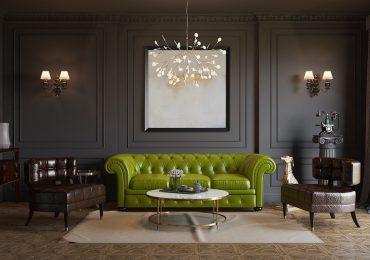 Bộ sofa được làm từ chất liệu da gây ấn tượng mạnh cho người nhìn