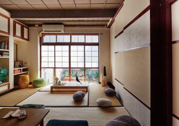 phòng khách Nhật Bản với chiếu tatami