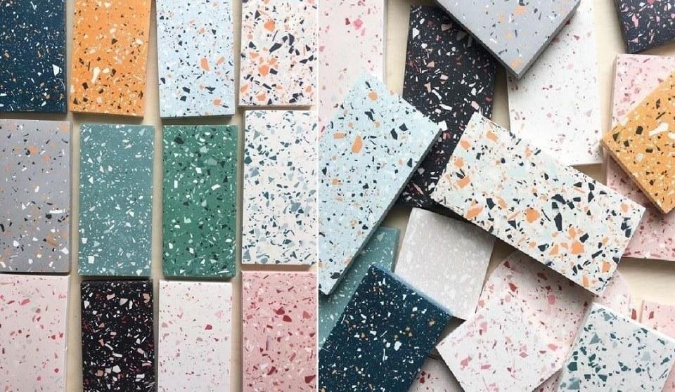 Vật liệu nội thất cao cấp terrazzo có thể dễ dàng tùy biến với màu sắc, hạt đá khác nhau theo ý tưởng thiết kế