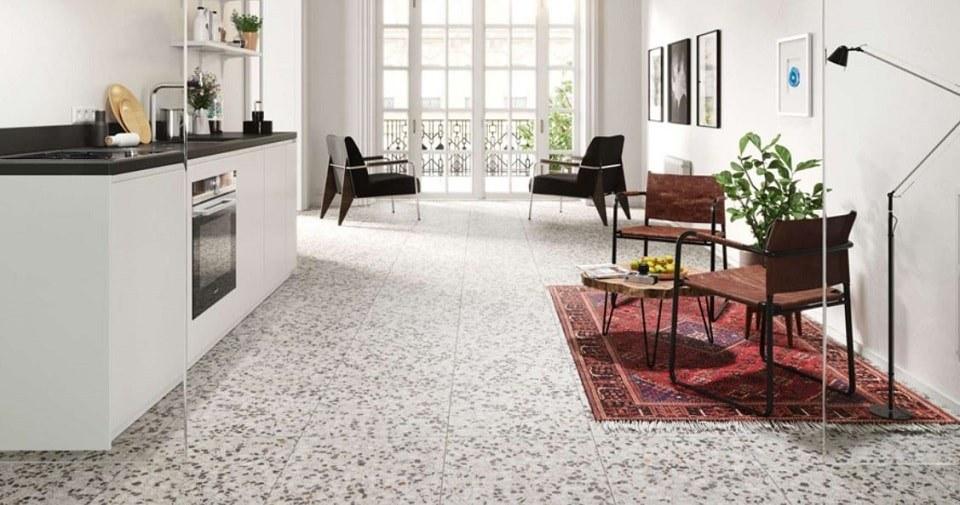 sàn Terrazzo cao cấp được làm từ vật liệu xi măng, cát, đá, hạt đá cẩm thạch, bột màu, chất phụ gia