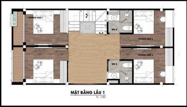 Bản vẽ mẫu nhà 2 tầng 1 tum 6x17m
