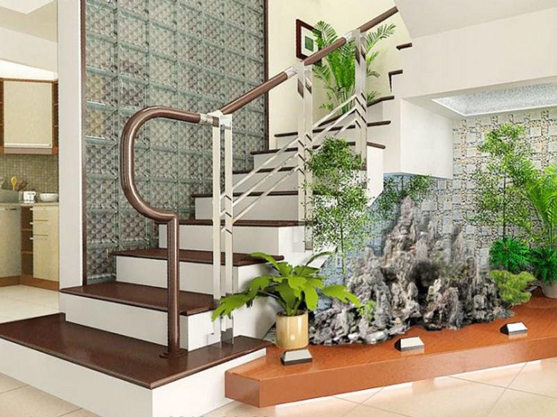 Sử dung gạch kính lấy sáng cầu thang cho cảm giác mở rộng không gian nhà