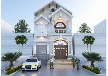 Mẫu nhà 1 trệt 1 lầu mái Thái phong cách tân cổ điển