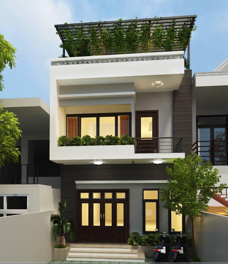 Nhà 2 tầng đẹp, hiện đại hoà hợp với thiên nhiên