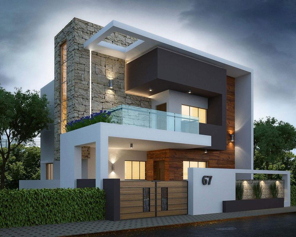 Thiết kế nhà 2 tầng mái bằng hiện đại thanh thoát