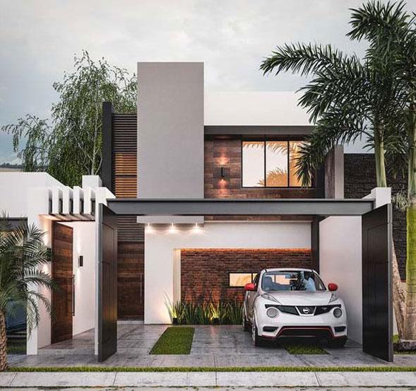 Thiết kế mẫu nhà 2 tầng mái bằng đơn giản nhưng tinh tế