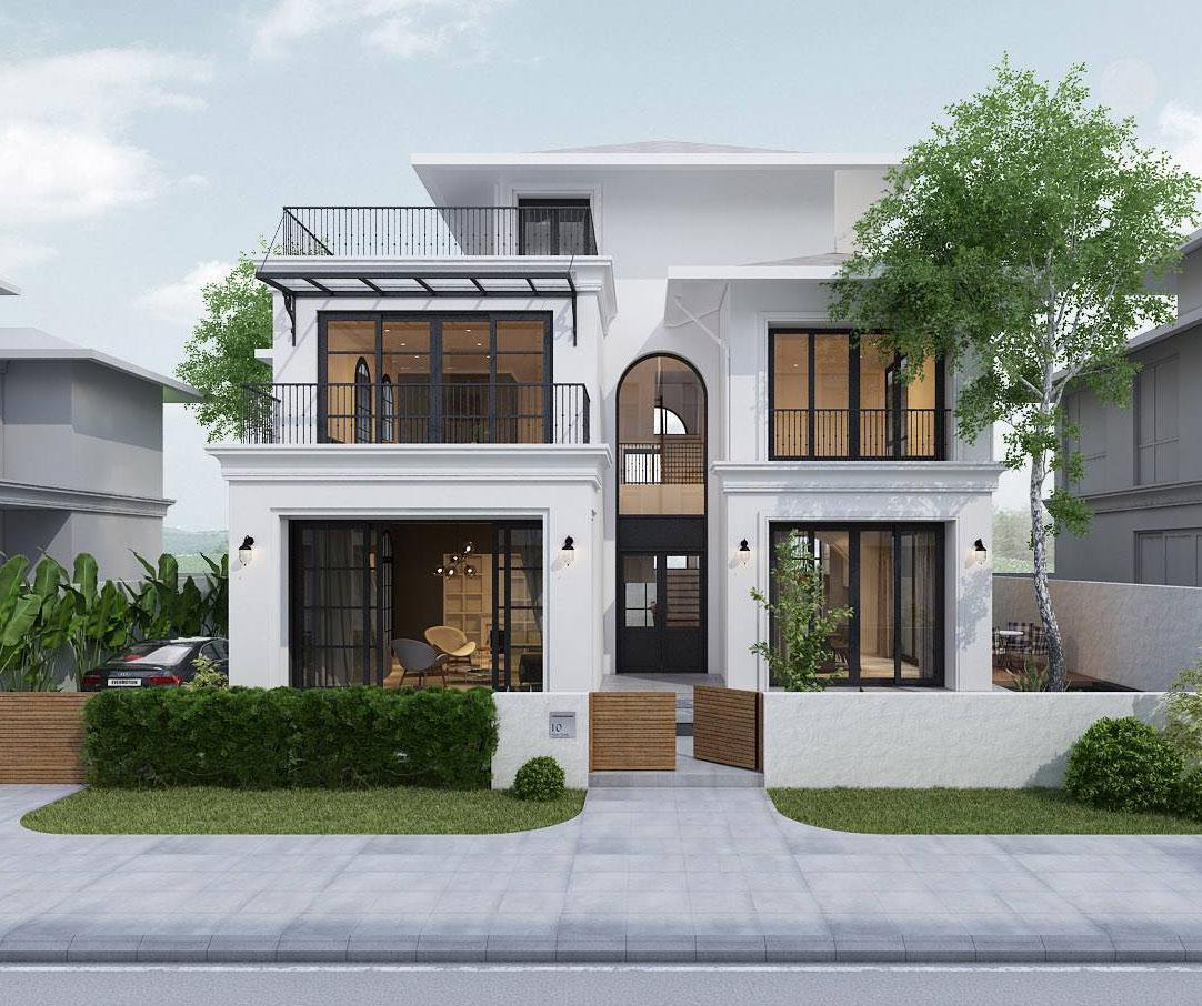 Thiết kế nhà với màu sắc và kiến trúc nổi bật