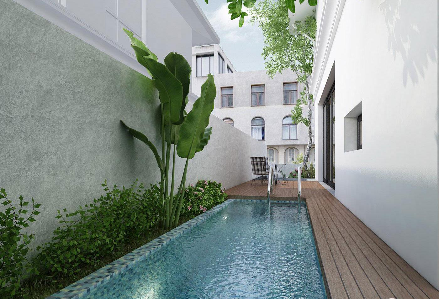 Bể bơi nằm bên hông nhà