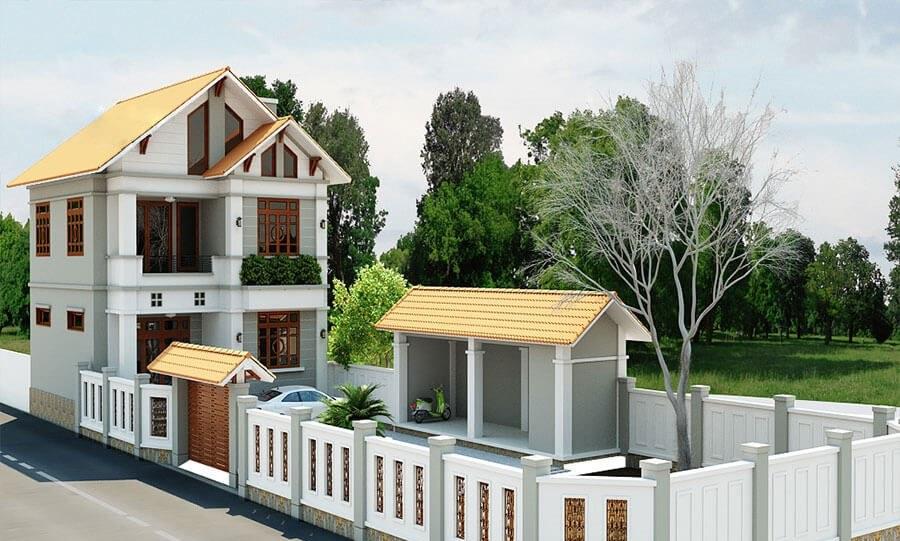 Mẫu thiết kế biệt thự 2 tầng mái ngói