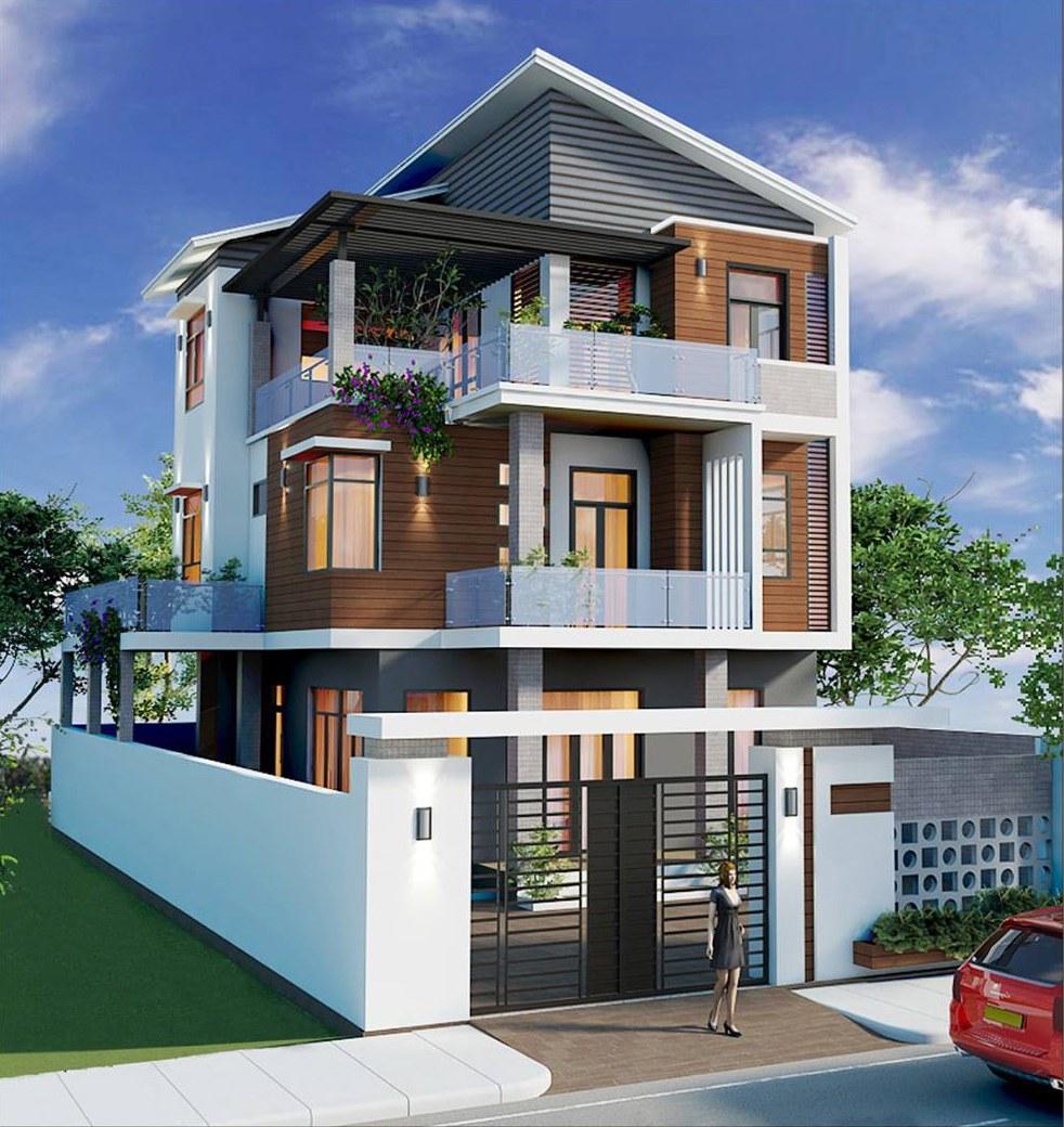 mẫu nhà 3 tầng mái lệch
