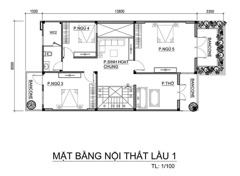 Mẫu nhà mái thái 2 tầng 5 phòng ngủ