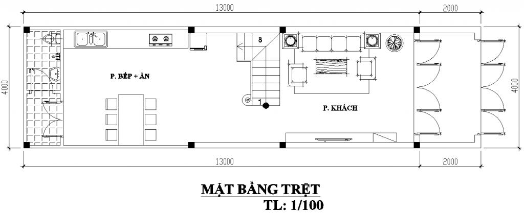 mẫu nhà ống 2 tầng 4x13m