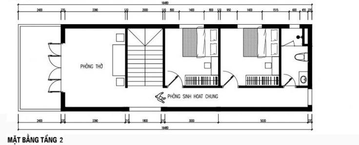 mẫu nhà ống 2 tầng 5x18m