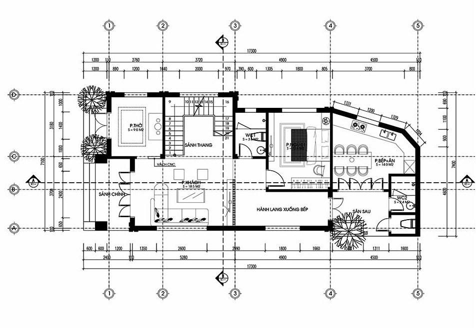 mẫu nhà ống 2 tầng mặt tiền 7m
