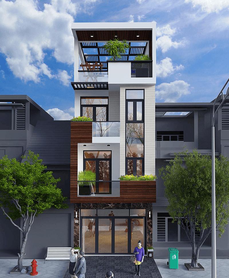 Mẫu nhà phố ngang 4m thiết kế hiện đại