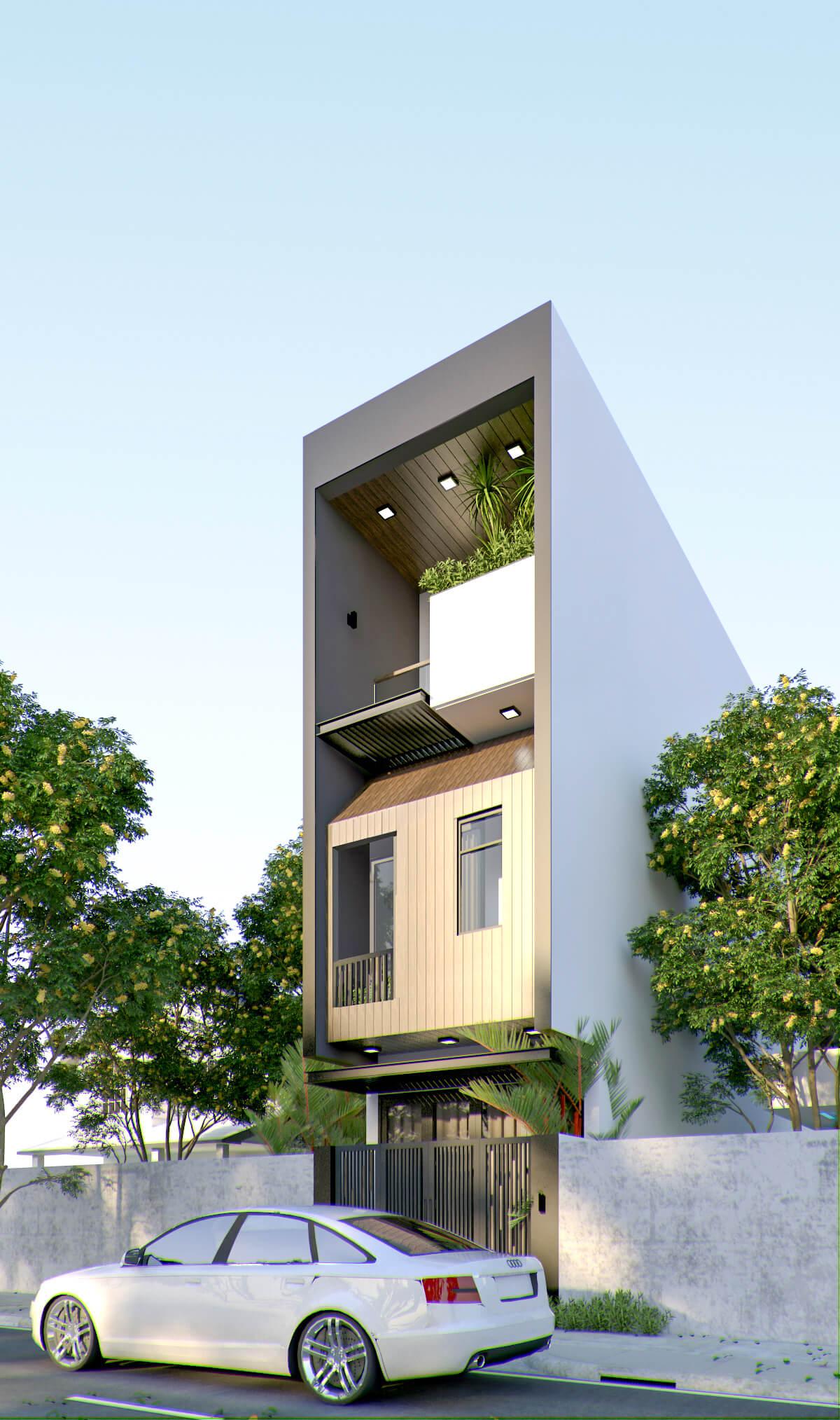 Phối cảnh mẫu nhà phố ngang 4m 3 tầng