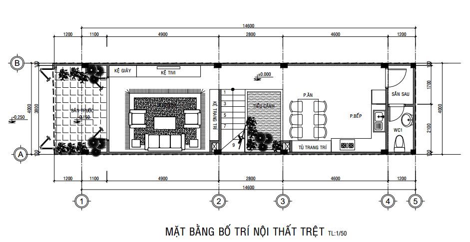 Mặt bằng công năng tầng trệt của mẫu nhà phố ngang 4m