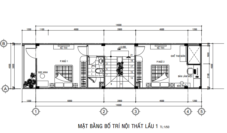 Mặt bằng công năng lầu 1 của mẫu nhà phố ngang 4m