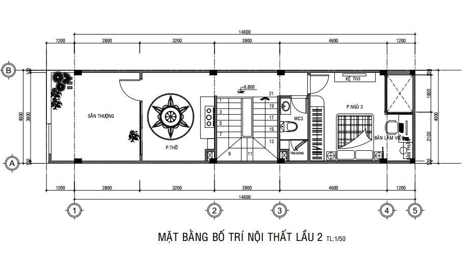 Mặt bằng công năng lầu 2 của mẫu nhà phố ngang 4m