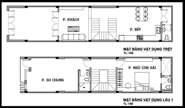 Mặt bằng công năng tầng 1+2 của mẫu nhà phố ngang 4m