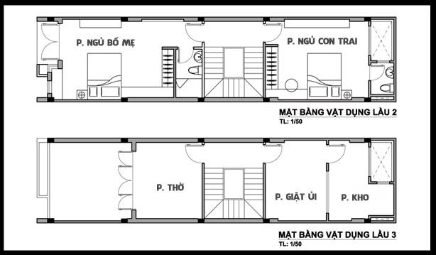 Mặt bằng công năng tầng 3+4 của mẫu nhà phố ngang 4m