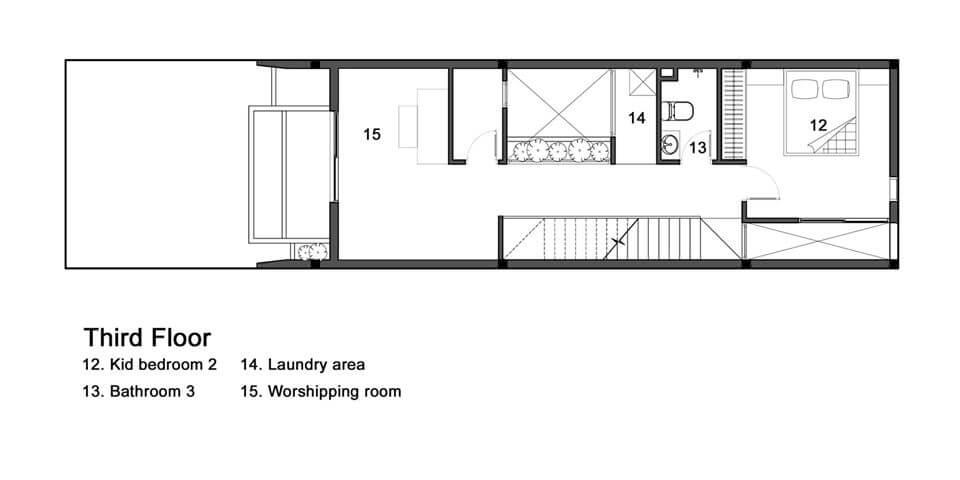 Mặt bằng công năng tầng 3 mẫu nhà phố ngang 5m