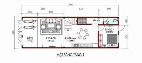 Mặt bằng công năng tầng 1 nhà phố 3 tầng 5x15m