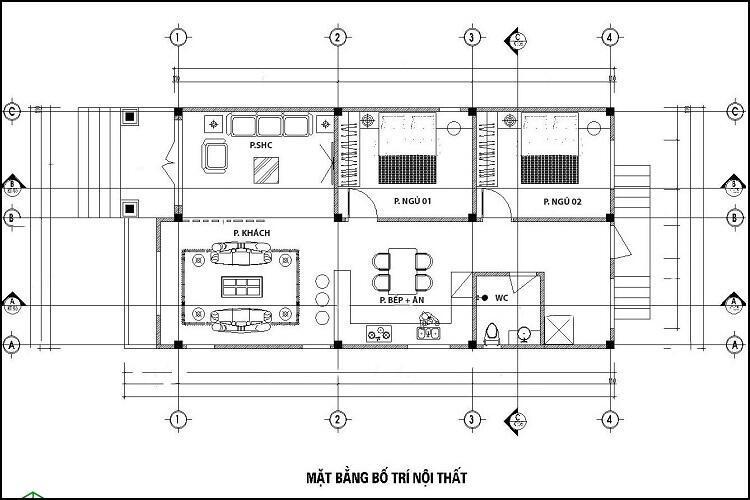 Mặt bằng công năng mẫu nhà mái Thái