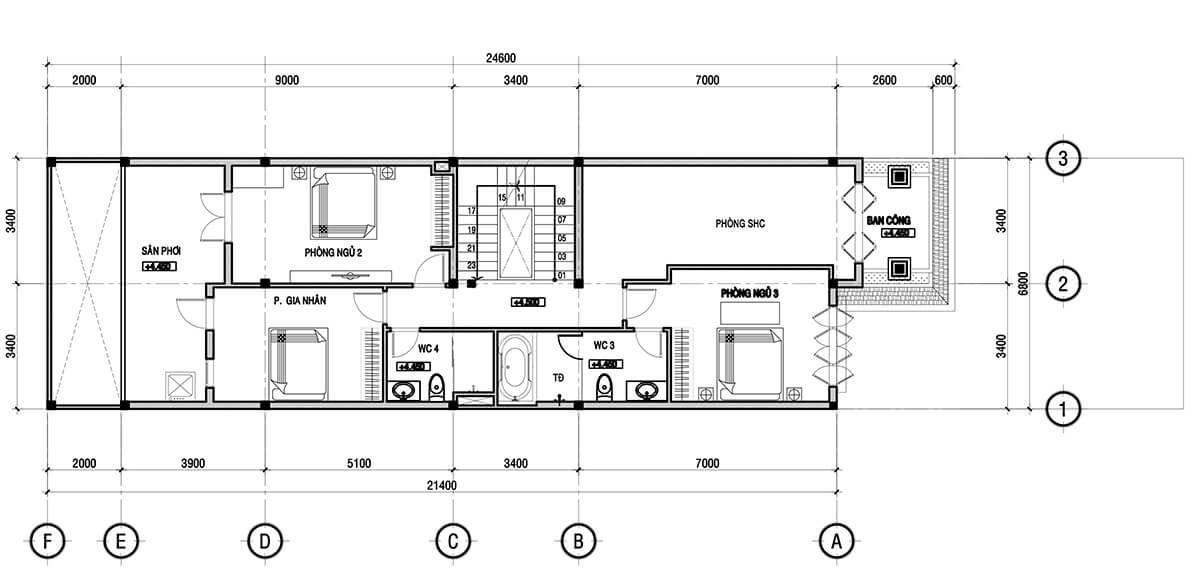 Công năng tầng 2 biệt thự mini phong cách châu âu