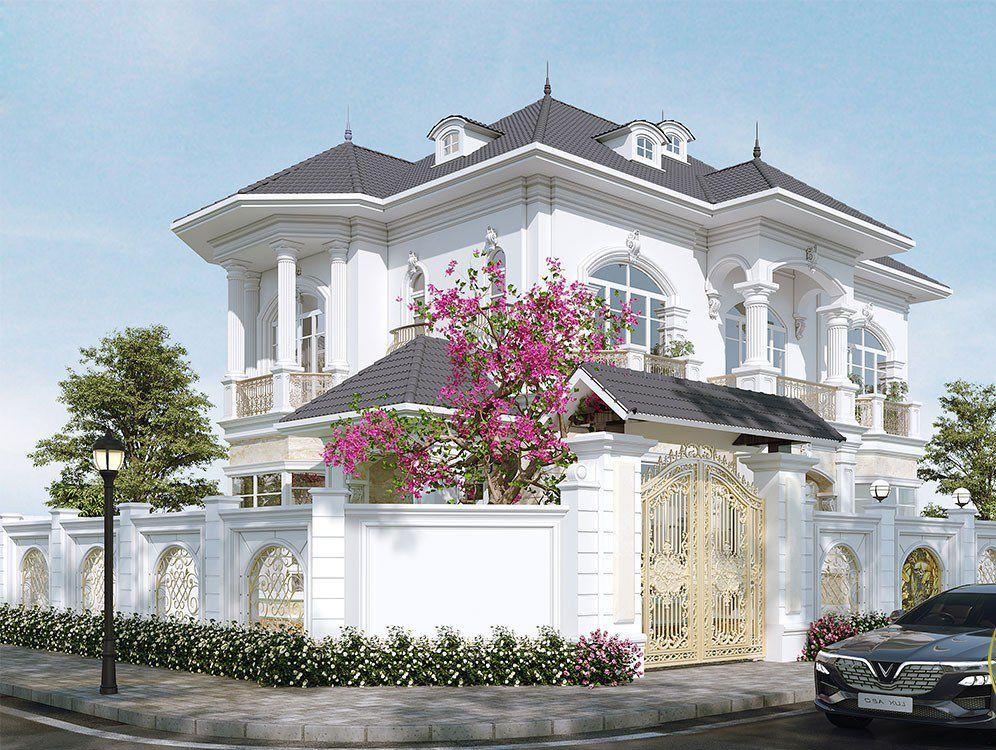 Mẫu thiết kế nhà biệt thự mini 2 tầng phong cách tân cổ điển đẳng cấp