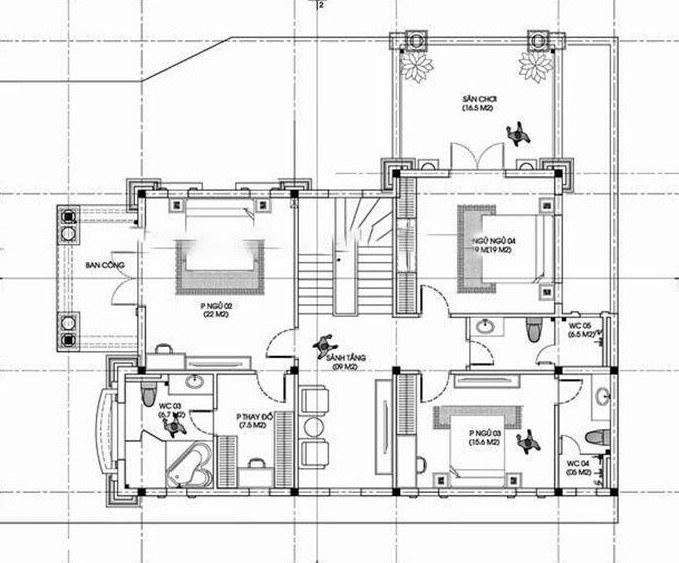 Mặt bằng tầng 2 mẫu biệt thự tân cổ điển