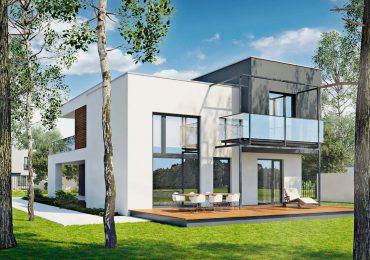 Không gian ngoại thất hiện đại của mẫu nhà 2 tầng mái bằng
