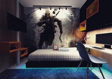 Trang trí khu vực tường với bức họa nhân vật game rộng lớn