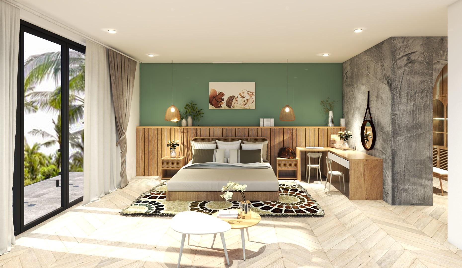 Hướng kê giường ngủ và màu sắc phòng ngủ nên thiết kế hợp với mệnh của chủ nhân căn phòng