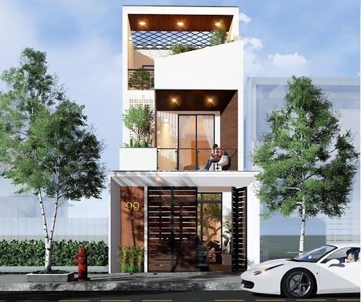 mẫu nhà 2 tầng 1 tum mái bằng
