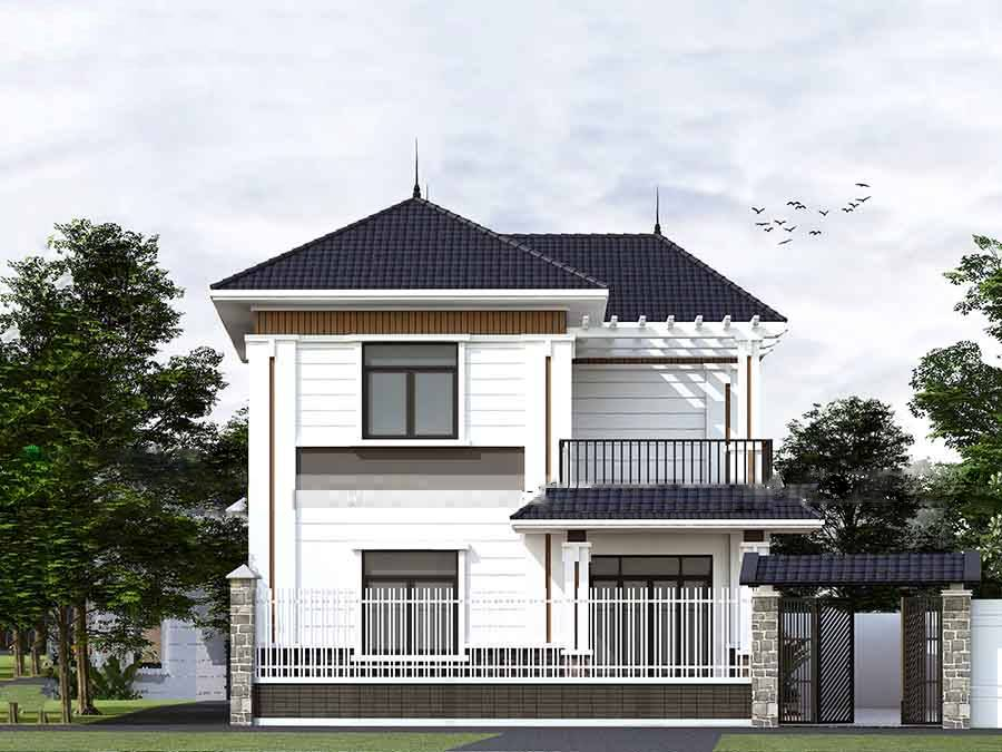 mẫu nhà 2 tầng 10x8m